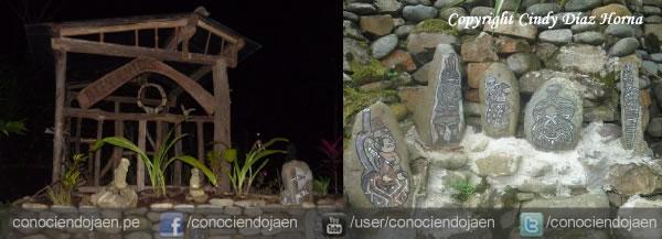 Jardín con Escultura de Piedra
